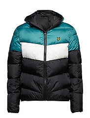 Colour Block Puffa Jacket - TRUE BLACK