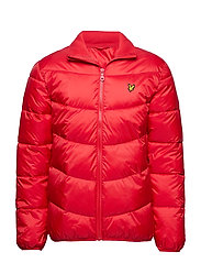 Funnel Neck Puffa Jacket - DARK RED