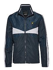 Colour Block Funnel Neck Jacket - DARK NAVY TILE PRINT
