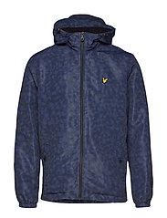 Geo Print Zip Through Hooded Jacket - NAVY GEO PRINT