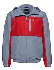 Colour Block Zip Through Jacket - STONE BLUE