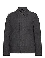 Herringbone Wool Jacket - JET BLACK/ MID GREY MARL