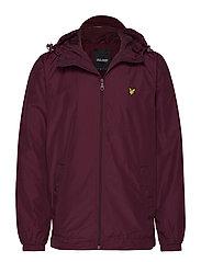 Zip Through Hooded Jacket - BURGUNDY