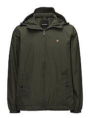 Zip Through Hooded Jacket - DARK SAGE