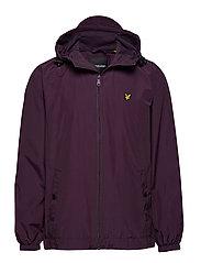 Zip Through Hooded Jacket - DEEP PLUM