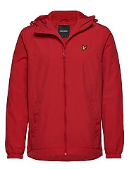Zip Through Hooded Jacket - GALA RED