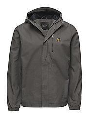 Hooded Curved Hem Jacket - URBAN GREY
