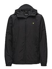 Zip Through Hooded Jacket - TRUE BLACK