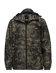 Moss Print Zip Through Hooded Jacket - DARK SAGE PRINT