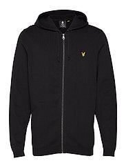 Knitted Zip Through Hoodie - TRUE BLACK
