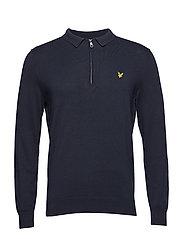 Collared 1/4 Zip Sweatshirt - DARK NAVY