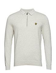 Collared 1/4 Zip Sweatshirt - LIGHT GREY MARL