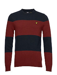 Wide Stripe Knitted Jumper - DARK NAVY/ BRICK RED