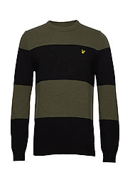 Wide Stripe Knitted Jumper - TRUE BLACK/OLIVE