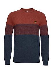 Chest Panel Knitted Jumper - DARK NAVY/ BRICK RED