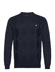 Tonal Argyle Knit Jumper - DARK NAVY MARL