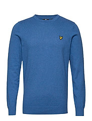 Cotton Merino Crew Jumper - BRIGHT COBALT MARL