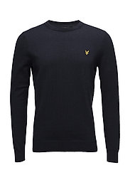 Cotton Merino Crew Jumper - DARK NAVY
