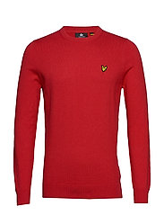 Cotton Merino Crew Jumper - GALA RED MARL