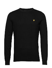 Cotton Merino Crew Jumper - JET BLACK