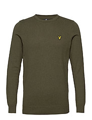 Cotton Merino Crew Jumper - LICHEN GREEN MARL