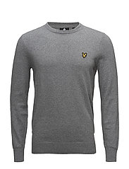 Cotton Merino Crew Jumper - MID GREY MARL