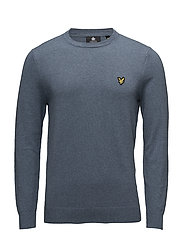 Cotton Merino Crew Jumper - MIST BLUE MARL