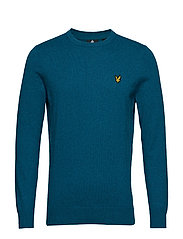 Cotton Merino Crew Jumper - PETROL TEAL MARL