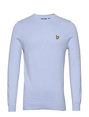 Cotton Merino Crew Jumper - POOL BLUE MARL