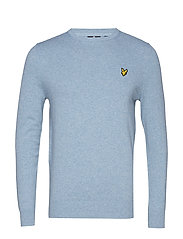Cotton Merino Crew Jumper - STONE BLUE MARL