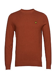 Cotton Merino Crew Jumper - TOBACCO MARL