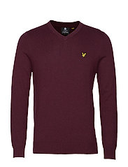 Cotton Merino V Neck Jumper - BURGUNDY MARL