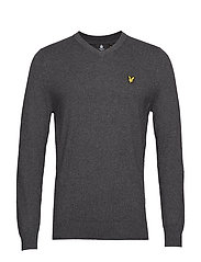 Cotton Merino V Neck Jumper - CHARCOAL MARL