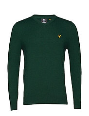 Cotton Merino V Neck Jumper - JADE GREEN MARL