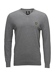 Cotton Merino V Neck Jumper - MID GREY MARL