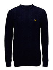 Crew Neck Lambswool Cable 5GG Jumper - NAVY