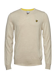Bowmont: V Neck Pullover - NATURAL OAT