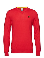Bowmont: V Neck Pullover - PAVILION RED