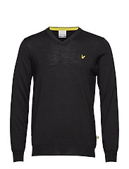 Bowmont: V Neck Pullover - TRUE BLACK
