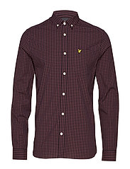 LS Slim Fit Gingham Shirt - BERRY/TRUE BLACK