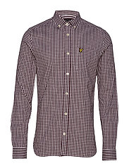 LS Slim Fit Gingham Shirt - BURGUNDY/WHITE