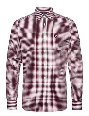 LS Slim Fit Gingham Shirt - MERLOT/WHITE