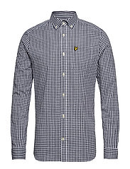 LS Slim Fit Gingham Shirt - NAVY/WHITE