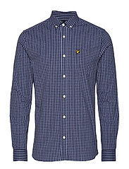 LS Slim Fit Gingham Shirt - STONE BLUE/NAVY