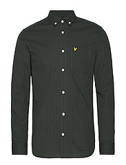 LS Slim Fit Gingham Shirt - TRUE BLACK/JADE GREEN