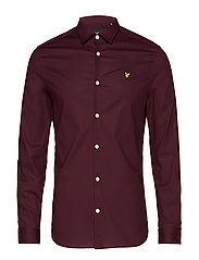 LS Slim Fit Poplin Shirt - BURGUNDY