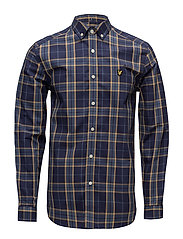 Poplin Fine Check Shirt - NAVY