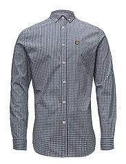 LS Slim Fit Gingham Shirt - GREY BLUE