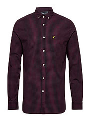 LS Slim Fit Gingham Shirt - TRUE BLACK
