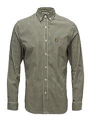 LS Slim Fit Gingham Shirt - WOODLAND GREEN